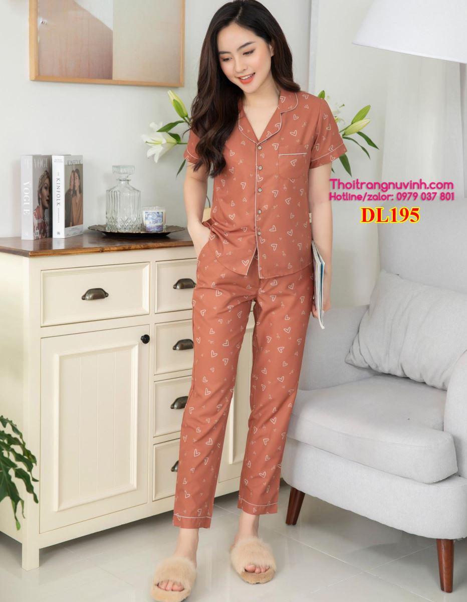 Bộ mặc nhà Pijama Lụa - DL195 - bộ đồ mặc nhà mùa hè,kiểu đồ bộ đẹp,đồ bộ mặc nhà dễ thương,mẫu đồ bộ đẹp,do bo mac nha,bộ đồ mặc nhà,đồ bộ mặc ở nhà,do bo nu,đồ bộ đẹp,đồ bộ nữ