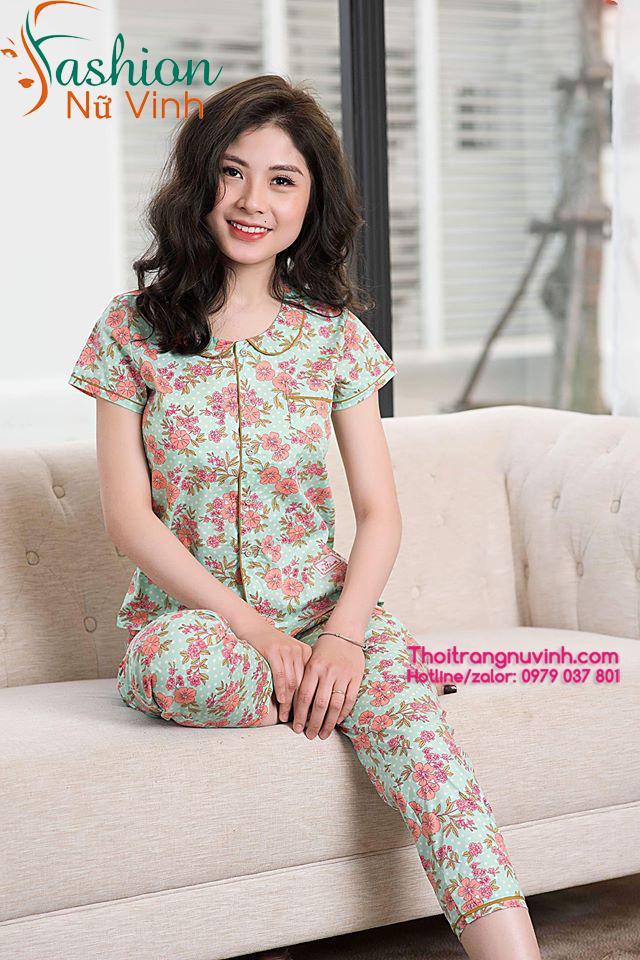 Bộ đồ mặc nhà nữ mùa hè họa tiết hoa lá